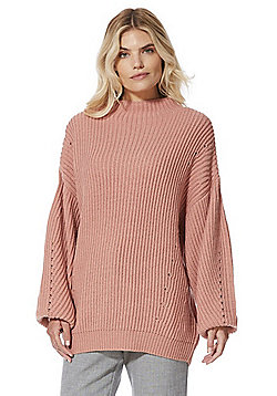 Vero Moda Rib Knit Balloon Sleeve Jumper - Pink
