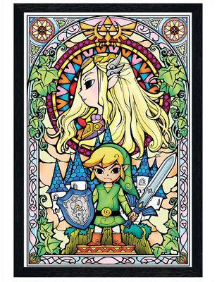 The Legend of Zelda Black Wooden Framed Stained Glass Poster