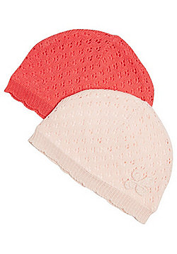F&F Pack of 2 Pointelle Beanies - Pink