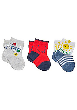 F&F 3 Pair Pack of Smiley Face Ankle Socks - Multi