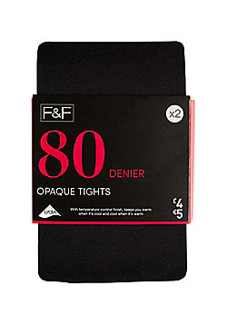 F&F 2 Pack of Opaque 80 Denier Tights - Black