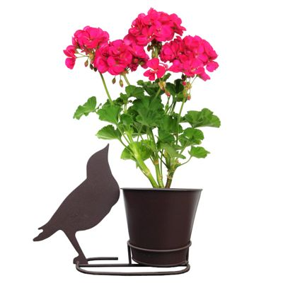 Plant Pot & Stand with Attractive Songbird Silhouette