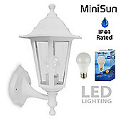 Traditional Style Outdoor Up & Down LED Wall Lantern in White