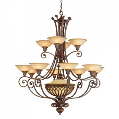 British Bronze 13lt Chandelier - 12 x 60W E14 & 1 x E27