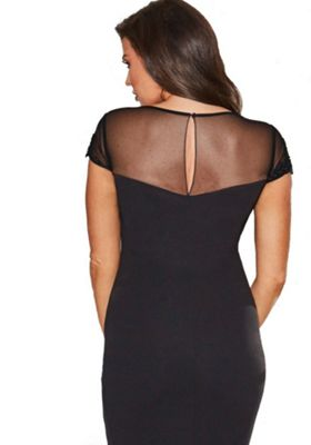 Jessica Wright Laurie Mesh Embellished Bodycon Dress 10 Black