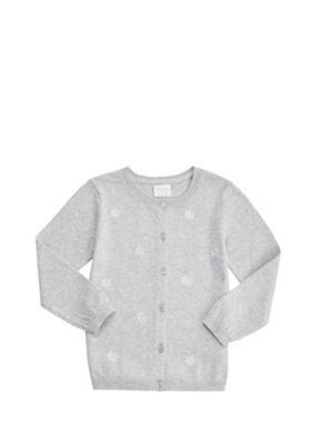 F&F Embroidered Daisy Cardigan Grey 3-4 years