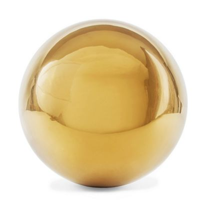Polished Gold Stainless Steel 18cm Garden Sphere Gazing Ball Ornament