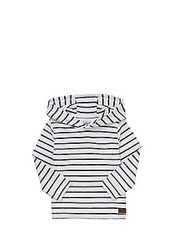 F&F Textured Stripe Hooded Sweatshirt - White