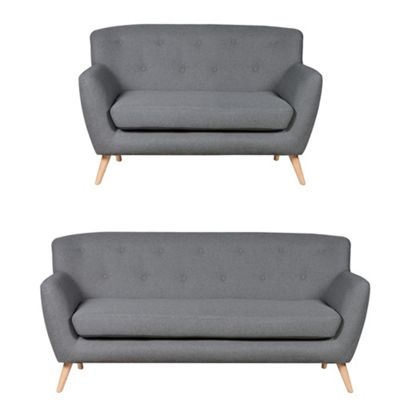 Sofa Collection Carson Fabric 3+2 Seat Sofa Light Grey