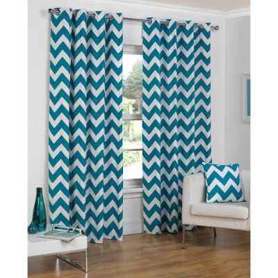 Hamilton McBride Chevron Lined Ring Top Teal Curtains   66x54 Inches  (168x137cm)