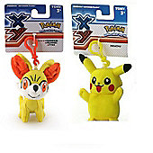 Pokemon Plush Keychain Bundle - Pikachu & Fennekin