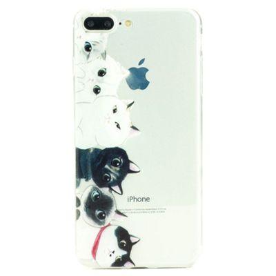 iPhone 8 Plus Cute Cats Illustration Slim Clear Silicone Case - Multi