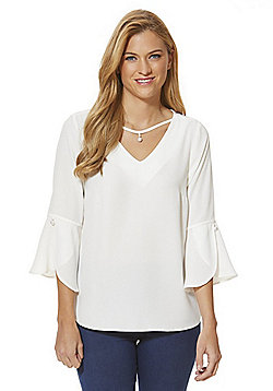 F&F Faux Pearl Detail Tulip Sleeve Top - Ivory