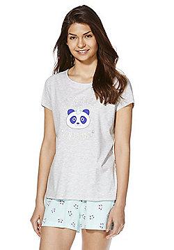 F&F Unicorn Slogan Shorts Pyjamas - Mint