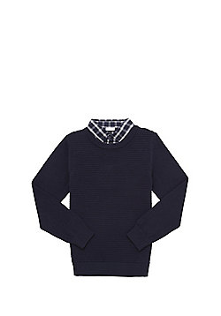 F&F Mock Shirt Layer Ripple Rib Jumper - Navy