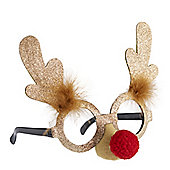 Red Nose Reindeer Glasses - Gold