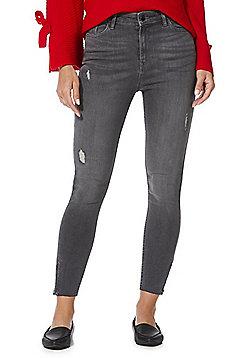 F&F Contour Raw Hem Skinny Jeans with LYCRA® BEAUTY - Grey