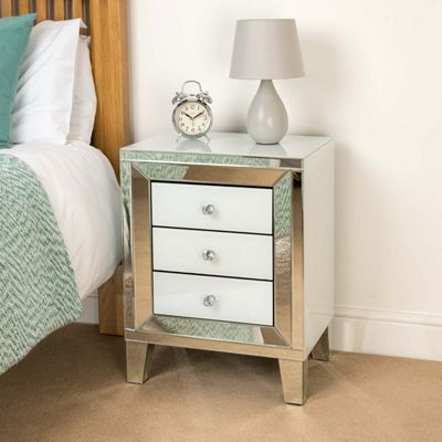 Christow White 3 Drawer Mirrored Bedside Cabinet