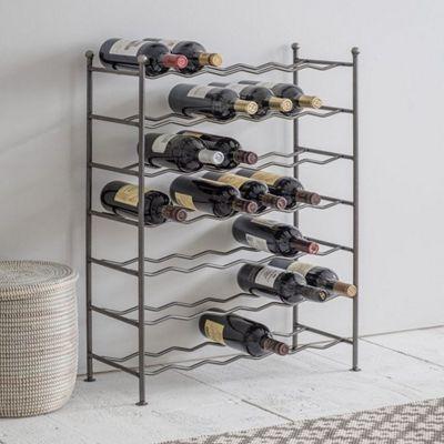 Deluxe 42 Bottle Large Wine Rack Freestanding Steel Zig Zag Style Metal Wine Bottle Storage Rack Holder For Bar Home Kitchen