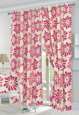 Petals fully lined eyelet curtains - 66x90 - pink