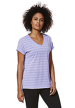 F&F Active Burnout Side Split V-Neck T-Shirt - Purple