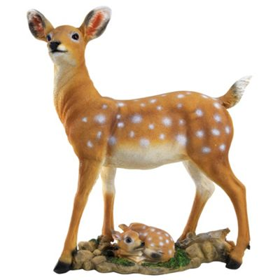 Realistic Polyresin 55cm Fallow Deer Doe with Fawn Garden Ornament Statue