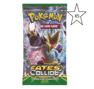 Pokemon Fates Collide Booster Packet Card Game - 5 Packs Supplied