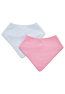 F&F 2 Pack of Marl and Striped Dribble Bibs - Multi
