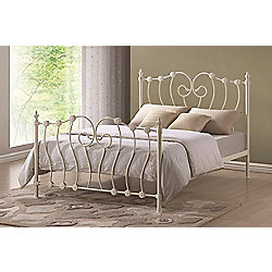 Inova Ivory Shabby Chic 5ft King Metal Bed Frame