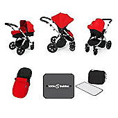 ickle bubba Stomp V3 Silver All-In-One Travel System (Red)