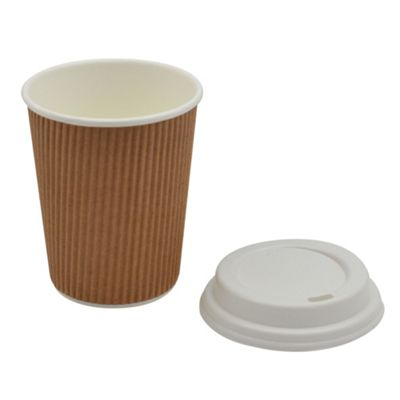 Disposable Coffee Tea Hot Drinks Ripple Brown Cup & White Lid 8oz x20