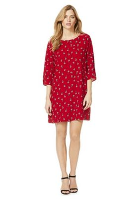 Only Floral Print Shift Dress Red L