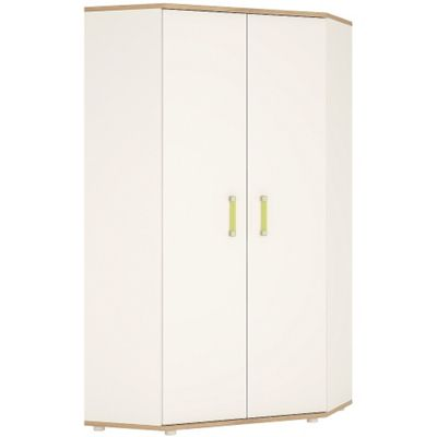 4KIDS Corner wardrobe in light oak and white high gloss with lemon handles