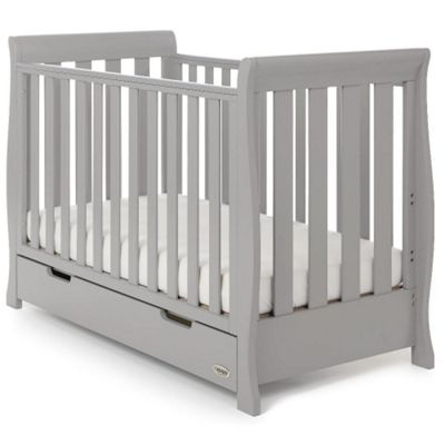 OBaby Stamford Mini Sleigh Cot Bed (Warm Grey)