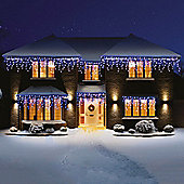 Premier Snowing LED Icicle Lights 180 Blue and White