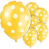 Yellow Decorative Polka Dots 12 inch Latex Balloons - 6 Pack