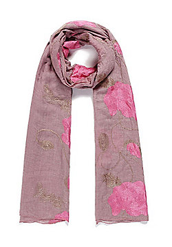 Pink Poppy Embroidered Scarf