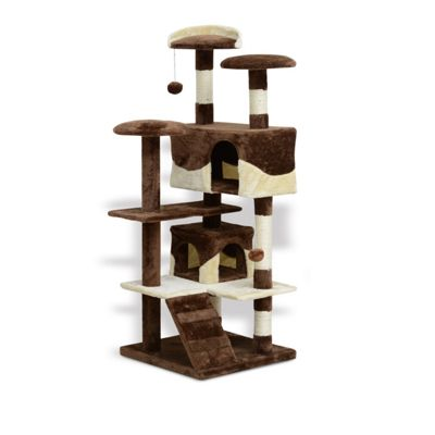PawHut Cat Tree Kitten Scratch Post Climb Activity Center Play Fun House 132cm (Coffee-Brown)