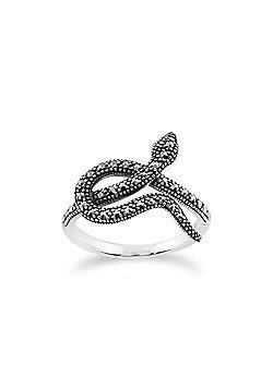 Gemondo 925 Sterling Silver 0.42ct Marcasite Art Nouveau Snake Design Ring