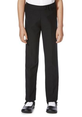 F&F School Girls Stretch Bow Trim Trousers 10-11 yrs Black