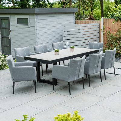 Nova - Hadid Fabric Dining Set - 8 Seat Rectangular - Flanelle