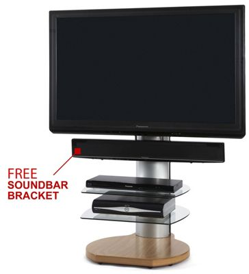 Origin II S4 Oak Cantilever TV Stand - With Free Soundbar Bracket