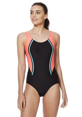 F&F Active Piped Side Panel Swimsuit Black/Coral 6