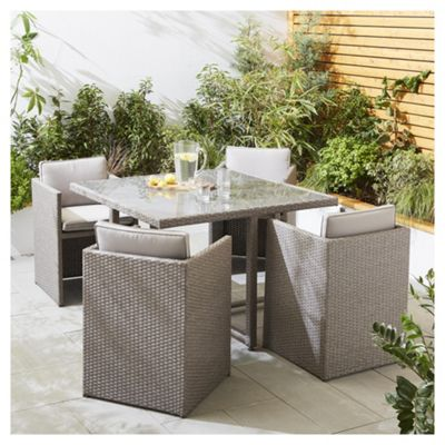 tesco san marino 5 piece rattan cube garden dining set grey - Rattan Garden Furniture Tesco