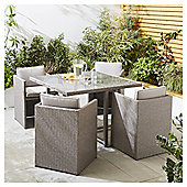 Tesco San Marino 5 Piece Rattan Cube Garden Dining Set, Grey