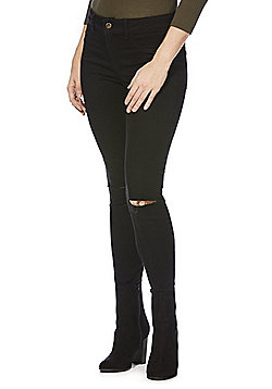 JDY Ripped Knee Stretch Skinny Jeans - Black