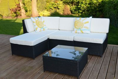 Cadiz Garden Rattan Corner Sofa Set with Table Black