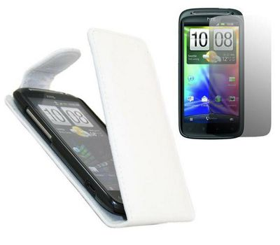 iTALKonline Screen Protector and FlipMatic Easy Clip On Vertical Pouch Case White - For HTC Sensation