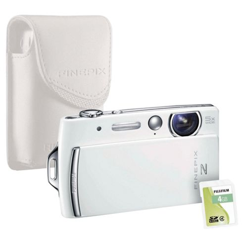 Fujifilm FinePix Z110 Digital Camera bundle with matching coloured case and 4GB memory card, White, 14MP, 5x Optical Zoom, 2.7 inch LCD screen