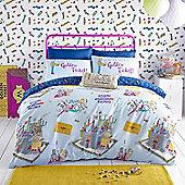 Roald Dahl 'Willy Wonka' Blue Reversible Quilt Cover Set, Single